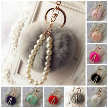 Cute Rabbit Fur Ball Pearl Pendant Car Keychain