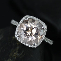 BACK ORDER Barra Queen Size 14kt White Gold Morganite and Diamond Cushion Halo Engagement Ring (Other metals and stone options available)