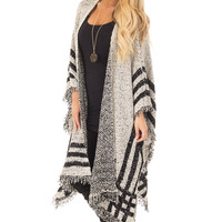 Oatmeal and Black Oversized Open Cardigan Poncho