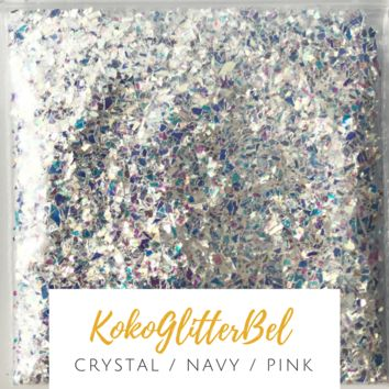 Ice Glitter Flakes- Crystal/Navy/Pink