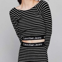 Calvin Klein Popular Simple Women Stripe Long Sleeve Top Stripe Skirt Letter Print Two-Piece I-KWKWM