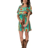 Coco Love Women's Teal with Multi Maroon Aztec Short Cold Shoulder Sleeve Belted Dress
