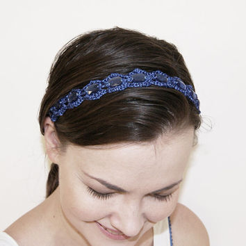 Royal Blue Crochet Headband / Choker / Bracelet
