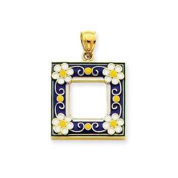 14k Gold Blue Enameled Picture Frame Pendant