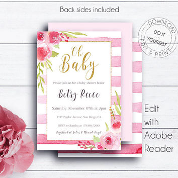 Oh Baby Printable Invitation Template, Girl Baby Shower Invitations, Gold Glitter Stripes Invitation, Editable, Floral, Oh Baby Shower