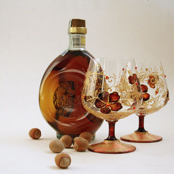 Cognac, Brandy, Liqueur, Wine Hand Painted Glasses Set of 2