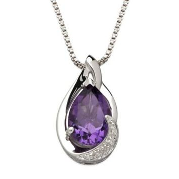 Sterling Silver .01 cttw Diamond and Amethyst 18-Inch Chain Pear-Shape Pendant Necklace