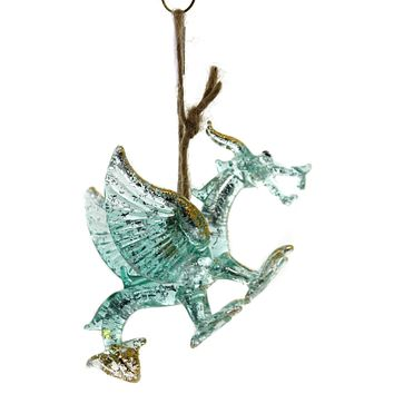 Holiday Ornaments DRAGON Glass Glitterville El0301 Blue