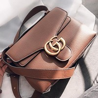 GUCCI Fashion New Leather Shopping Leisure Shoulder Bag Crossbody Bag Brown