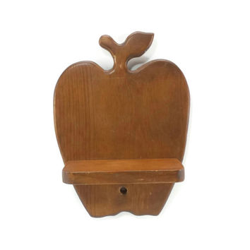 Vintage Apple Shaped Shelf, Kitchen Decor, Decorative Wood Wall Shelf, Primitive Country, Farmhouse, Shabby Cottage Chic, Teacher Classroom