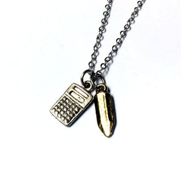 Number Cruncher: calculator and pencil charm necklace