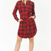 Plaid Dolphin Hem Shirt Dress