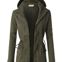 LE3NO Womens Military Anorak Jacket with Hood and Drawstring Waist