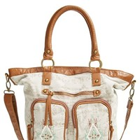 Junior Women's T-Shirt & Jeans Printed Canvas Convertible Tote - Brown