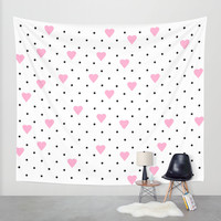 Pin Point Hearts Pink Wall Tapestry by Project M