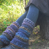 Woodland Pixie Legwarmers Festival Fairy Hand Knitted Ready To Ship
