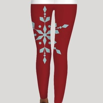 Red Patchwork Snowflake Print Skinny Santa Workout Strech Christmas Sprot Legging