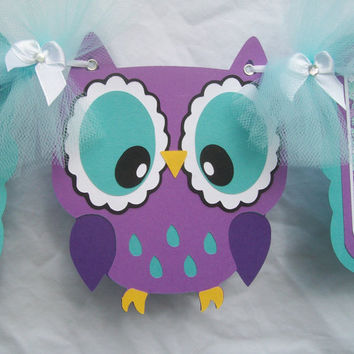 Purple owl baby shower banner, its a girl banner, purple, teal and white, READY TO SHIP