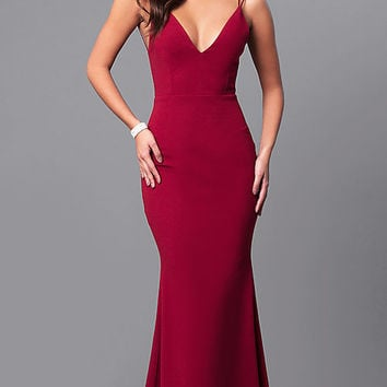 Burgundy Red Long Open-Back Prom Dress