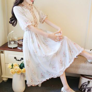 Japanese Mori Girl Sweet Flowy Long Dresses For Female Summer Vintage Floral Boho Elegant Ladies Chiffon Midi Fairy Dresses