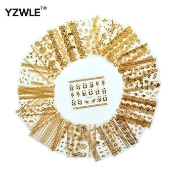 YZWLE 21 Sheets 3D Hot Gold DIY Decals Nails Art Stickers Accessories For Manicure Salon