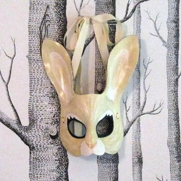 Rabbit Leather Mask, Adult Size - Made to Order ECO-FRIENDLY Halloween