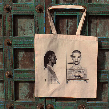 David Bowie 1976 Mug Shot New Tote Bag Glam