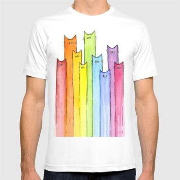 Cat Rainbow Watercolor Pattern T-shirt by Olechka