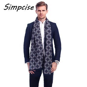 [Simpcise] Luxury Men Scarf Mufflers Business Style Men's Scarves Neckerchief for Male Winter Shawl pashmina A3A18923