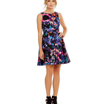 Taylor Floral-Print Fit-and-Flare Cocktail Dress | Dillards