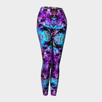 Good Vibrations, Compression fit performance Leggings, XS,S,M,L,XL, Hand Made Activewear, Purple, Azure, Baby Blue Cerulean, Yoga pants