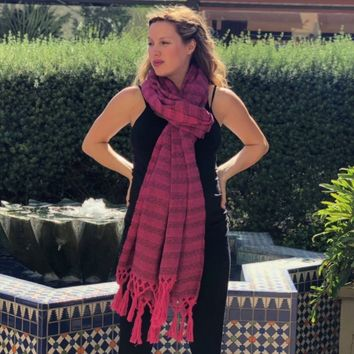 Mexican Rebozo Shawl - Strawberry Field