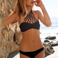 Mikoh Kahala Front criss cross halter bandeau top in night