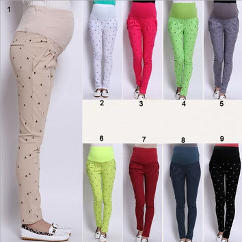 Womens Maternity Legging Long Loose Abdominal Pencil Pants Trouser M-3XL = 1946961796