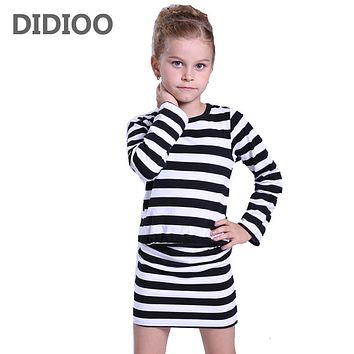 Girls Dresses Spring Autumn Long Sleeve Stripe Dresses For Girls Clothes  Baby Toddler Clothing