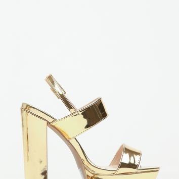 Gold Faux Leather Chunky Platform Heels @ Cicihot Heel Shoes online store sales:Stiletto Heel Shoes,High Heel Pumps,Womens High Heel Shoes,Prom Shoes,Summer Shoes,Spring Shoes,Spool Heel,Womens Dress Shoes
