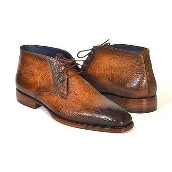 Paul Parkman Men's Chukka Boots Brown & Camel Shoes (ID#FG55-CML)