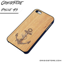 Anchor Wood Texture Case For Iphone 4/4S Case