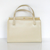 Vintage Handbag Coronette 1950s Off White Beige Faux Leather Purse
