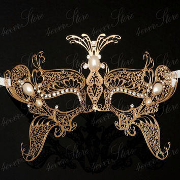 Gorgeous Gold Laser Cut Venetian Masquerade Mask with Sparking Rhinestones and Pearls (Children Size 2-10 Years Old)