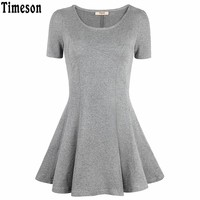 Timeson Women Short Sleeve T-shirt 2017 New Hot Ladies Fashion Slim Fit Tunic Tops Summer Casual Solid Flare Tee Shirt Femme