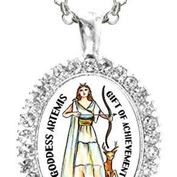 Goddess Artemis of Achievement Cz Crystal Silver Necklace Pendant