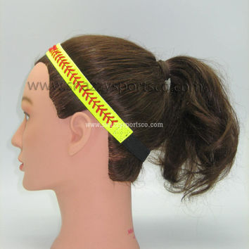 Softball Headband Yellow/red by SnazzySportsCo on Etsy