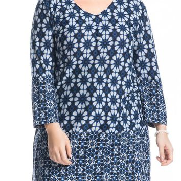 Women's Cashmere Touch Plus Size Floral Printed Tunic Top