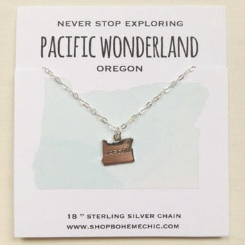 Oregon State Necklace Oregon Jewelry Silver Charm Pacific Wonderland Necklace Jewelry Travel Wanderlust Souvenir Home State