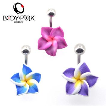 BODY PUNK Belly Button Rings Body Jewelry Navel Piercing 1 Pc Purple Flower Soft Clay Navel Rings Helix ombligo nombril