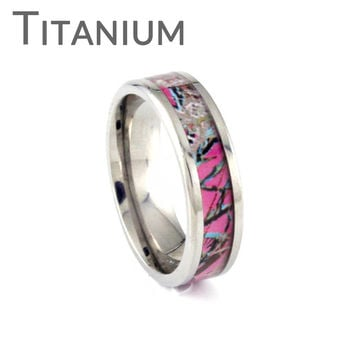 Think Pink Camo - Pink camouflage inlay titanium ring