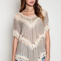 Boho Beauty Knit Top - Taupe