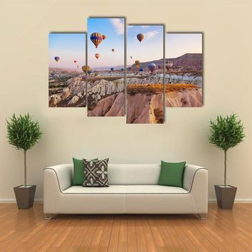 Hot Air Balloons Flying Under Blue Sky Multi Panel Canvas Wall Art