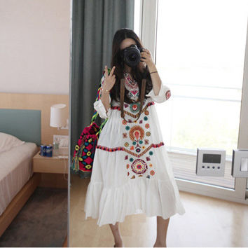 2016 Long Dress Women Vintage Ethnic Flower Embroidered Cotton Tunic Casual Long Dress Hippie Boho People Asymmetric High Low 9n
